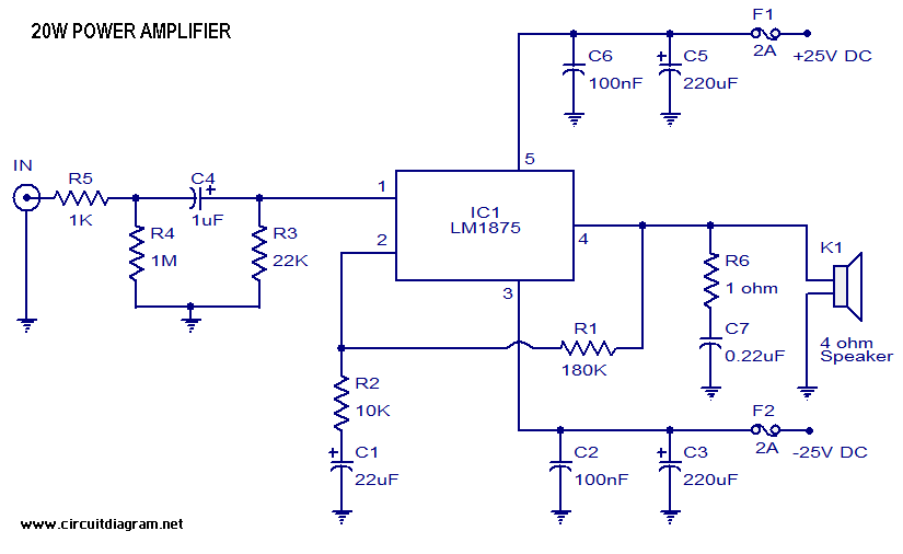 20 Watt Audio Amplifier with LM1875 | Electronic Schematic