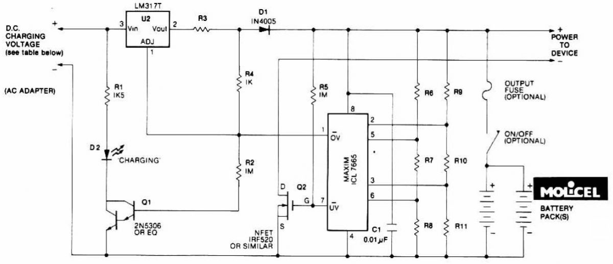 Lithium Battery Charger | Electronic Schematic Diagram on nicad charger schematic, li-ion charger schematic, nimh charger schematic, gel cell charger schematic,