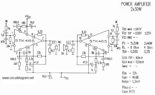 2 x 30w audio amplifier with stk