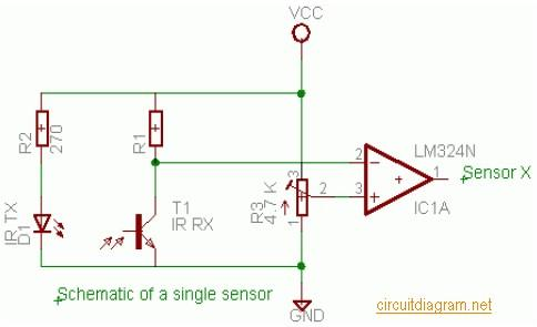 ATmega16 Line Follower Robot | Electronic Schematic Diagram