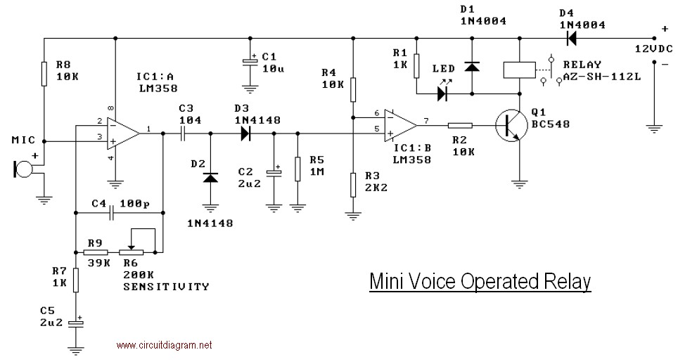 [WQZT_9871]  Mini Voice Operated Relay | Electronic Schematic Diagram | Vox Wiring Diagram |  | Electronic Schematic Diagram