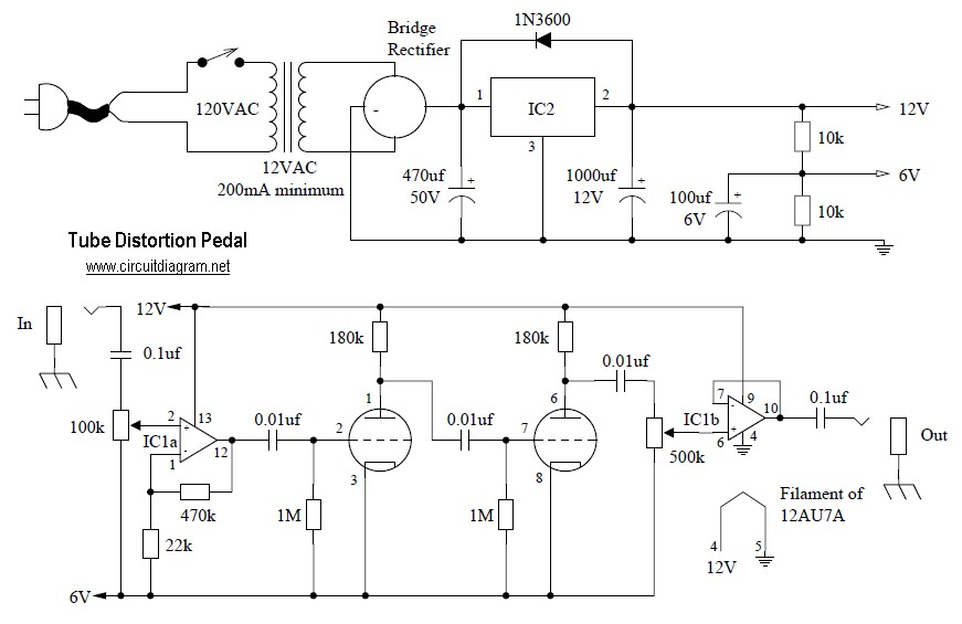 tube distortion pedal electronic schematic diagram. Black Bedroom Furniture Sets. Home Design Ideas