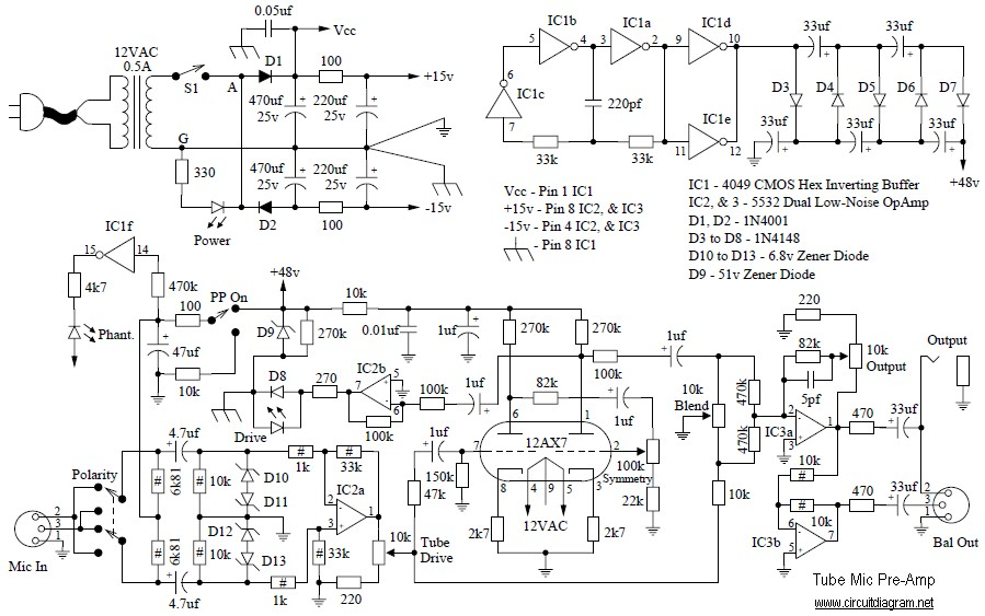 Tube Mic Pre-Amp | Electronic Schematic Diagram | Tube Mic Wiring Diagram |  | Electronic Schematic Diagram