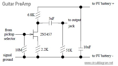 Guitar Pre-Amp with JFET 2N5457 | Electronic Schematic Diagram