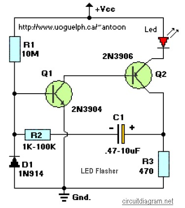Led Flasher 2 Transistors Electronic Schematic Diagram
