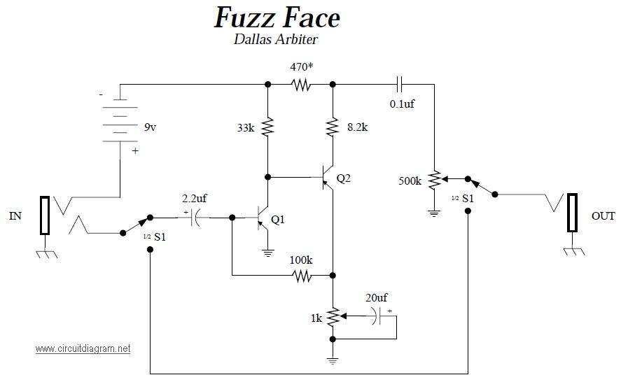 dallas arbiter fuzz face  electronic schematic diagram