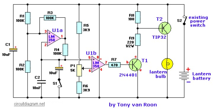 Lantern Dimmer and Flasher   Electronic Schematic Diagram on mute circuit schematic, light circuit schematic, toggle circuit schematic, control circuit schematic, halogen circuit schematic, bug zapper circuit schematic, turn signal circuit schematic, timer circuit schematic, diode circuit schematic, oscillator circuit schematic, clock circuit schematic, telephone circuit schematic, ignition circuit schematic, alternator circuit schematic, relay circuit schematic, thermostat circuit schematic, flash circuit schematic, radio circuit schematic, dmx circuit schematic, led circuit schematic,