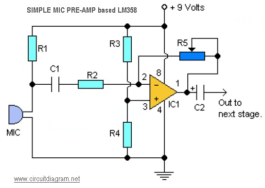 Microphone Preamplifier Circuit Diagram Simple Microphone
