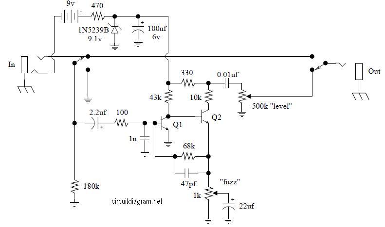 jimi hendrix fuzz face pedal jh2  electronic schematic diagram