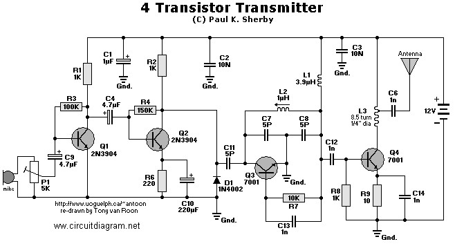 4 Transistors FM Transmitter | Electronic Schematic Diagram