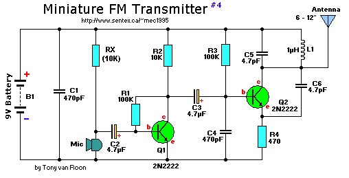 2 transistor mini fm transmitter electronic schematic diagramSimple Fm Transmitter With A Single Transistor By 2n2222 #13