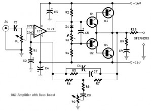 transistored 10w audio amplifier electronic schematic diagram