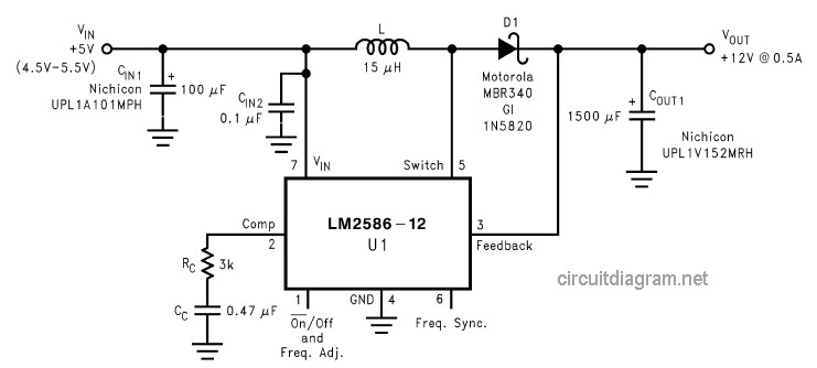 DC to DC Converter +5V to +12V | Electronic Schematic Diagram Dc To Converter Schematic Diagram on