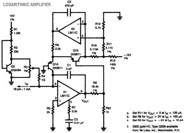 logarithmic amplifier lm11c  u2013 electronic schematic diagram