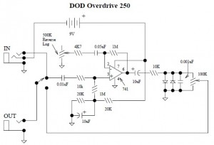 DOD Overdrive Preamp 250 | Electronic Schematic Diagram