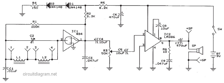 two chips am radio receiver electronic schematic diagram. Black Bedroom Furniture Sets. Home Design Ideas