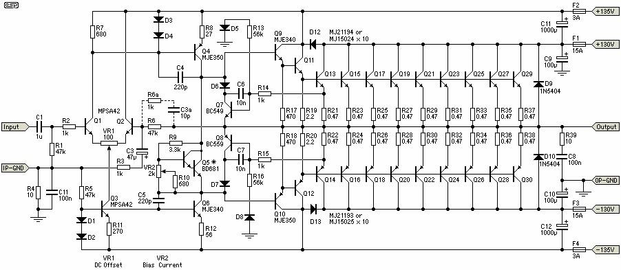 1500w power amplifier electronic schematic diagram rh electronicscheme net  2000w power amplifier circuit diagram datasheet