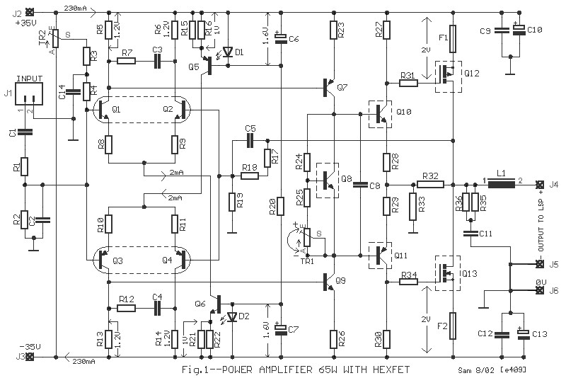 65w power amplifier using hexfet electronic schematic diagram