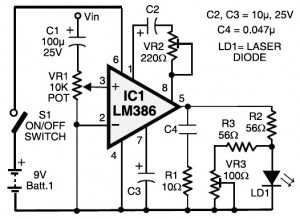 laser communication (transmitter \u2013 receiver) electronic schematic