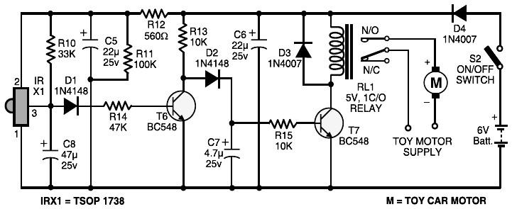 Remote Control Receiver Circuit  U2013 Electronic Schematic Diagram