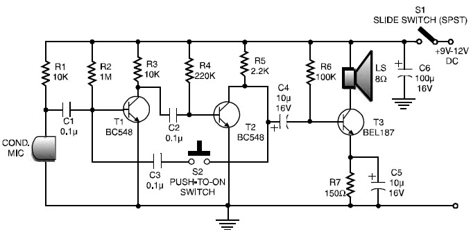 Low-Cost and Simple Intercom | Electronic Schematic Diagram on