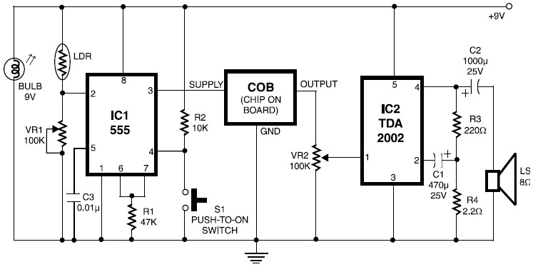 file alarm with ldr sensor  u2013 electronic schematic diagram