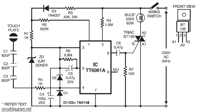 TT6061A circuit | Electronic Schematic Diagram on 24vac dimmer, 3 way dimmer, 0 10 volt dimmer, dc dimmer, light dimmer, dmx dimmer, triac dimmer, electronic low voltage dimmer, illumatech dimmer, 2 channel led dimmer, 12 volt led dimmer, leviton ip710 dimmer, ip710 wall dimmer, pwm dimmer,