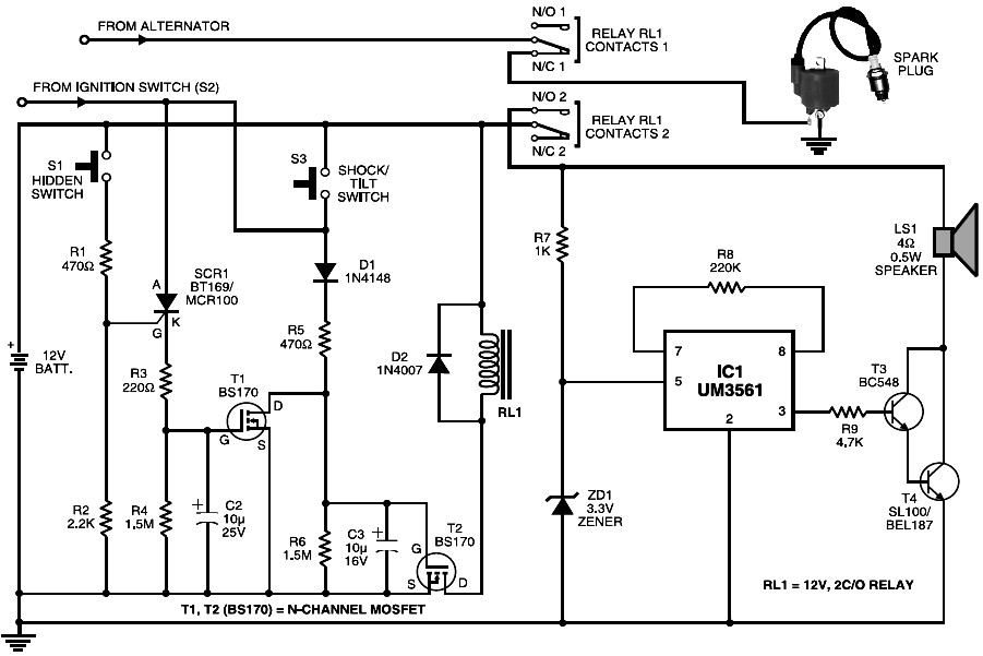Cheap Motorcycle Alarm | Electronic Schematic Diagram