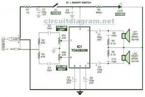 USB Powered, Stereo Computer Speaker | Electronic Schematic DiagramElectronic Schematic Diagram