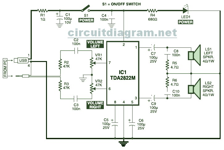 Usb Powered Stereo Pc Multimedia Speaker Circuit Electronic Electronic Schematic Diagram