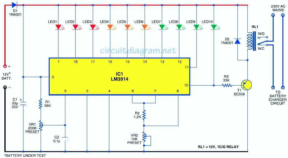 simple battery level indicator electronic schematic diagram Input Output Wiring Diagram