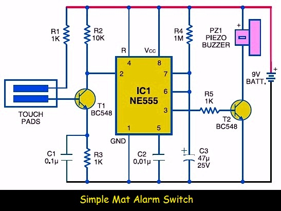 Simple Mat Alarm Switch | Electronic Schematic Diagram