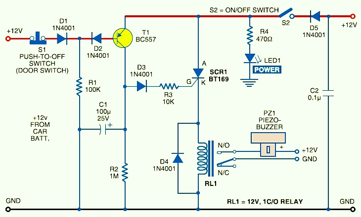Car Anti Theft Protection With Buzzer Electronic Schematic Diagram