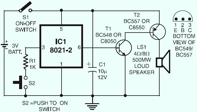 Ding Dong Door Bell Electronic Schematic Diagram