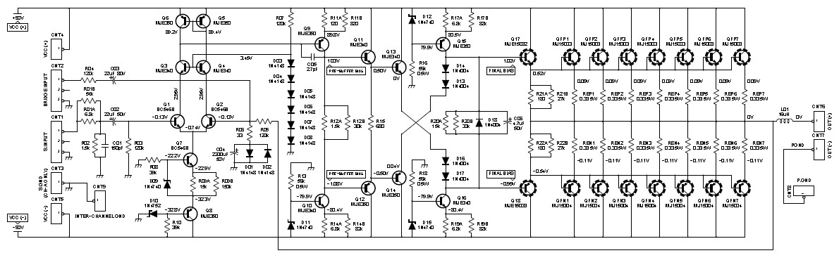 2000W    Class AB Power    Amplifier      Electronic Schematic    Diagram
