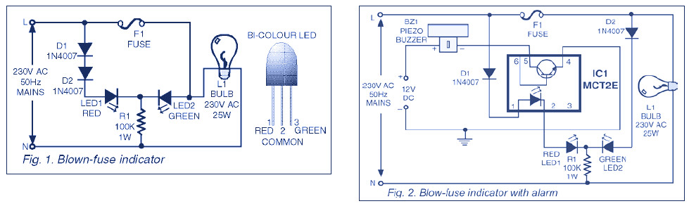 Enjoyable Indicator Circuit For Mains 220V Blown Fuse Electronic Schematic Wiring 101 Tzicihahutechinfo