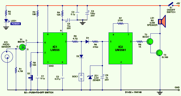 Smart Vibration Sensor Alarm | Electronic Schematic Diagram