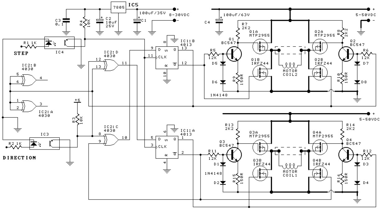 Bipolar Stepper Motor Driver Electronic Schematic Diagram