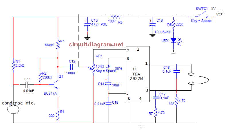 Small Sound Amplifier for Ears (Hearing Aid) Schematic ... on