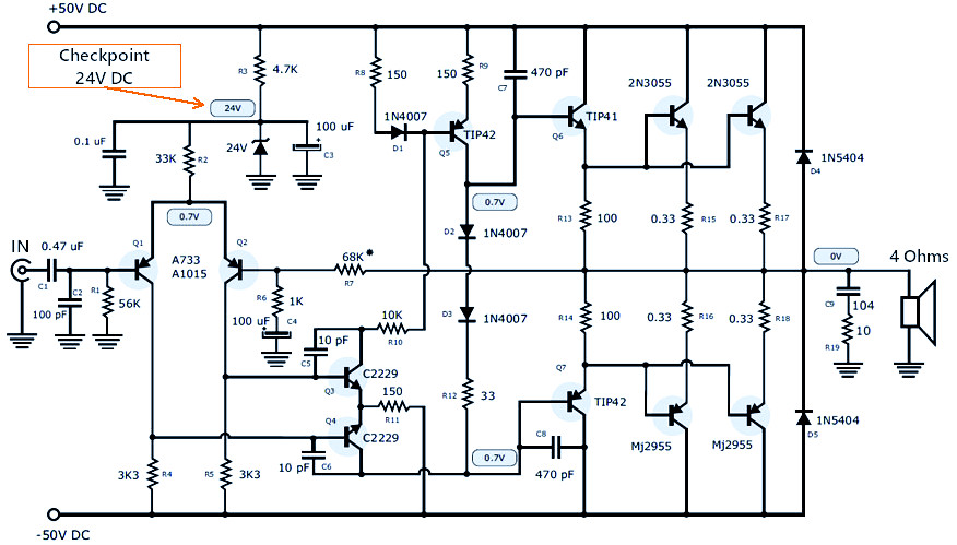 120W Power Amplifier + Power Supply | Electronic Schematic