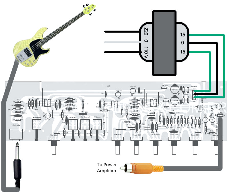 bass guitar preamp pedal diy schematic pcb design electronic schematic diagram. Black Bedroom Furniture Sets. Home Design Ideas