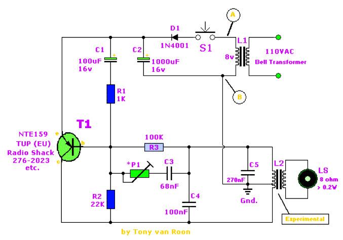 Doorbell Ringer Birdie Tone Electronic Schematic Diagram